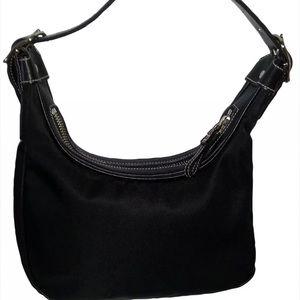 COACH Small Purse Black Vinyl Short Leather strap